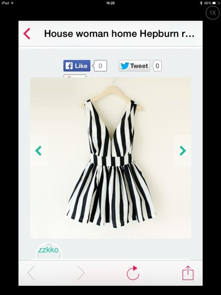 dress striped dress black and white low cut skater