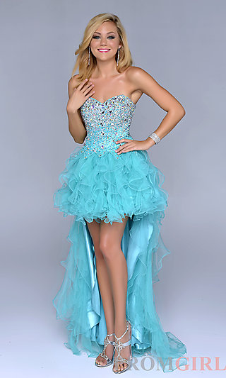 Prom Dresses, Celebrity Dresses, Sexy Evening Gowns - PromGirl: Strapless Sweetheart High Low Prom Dress