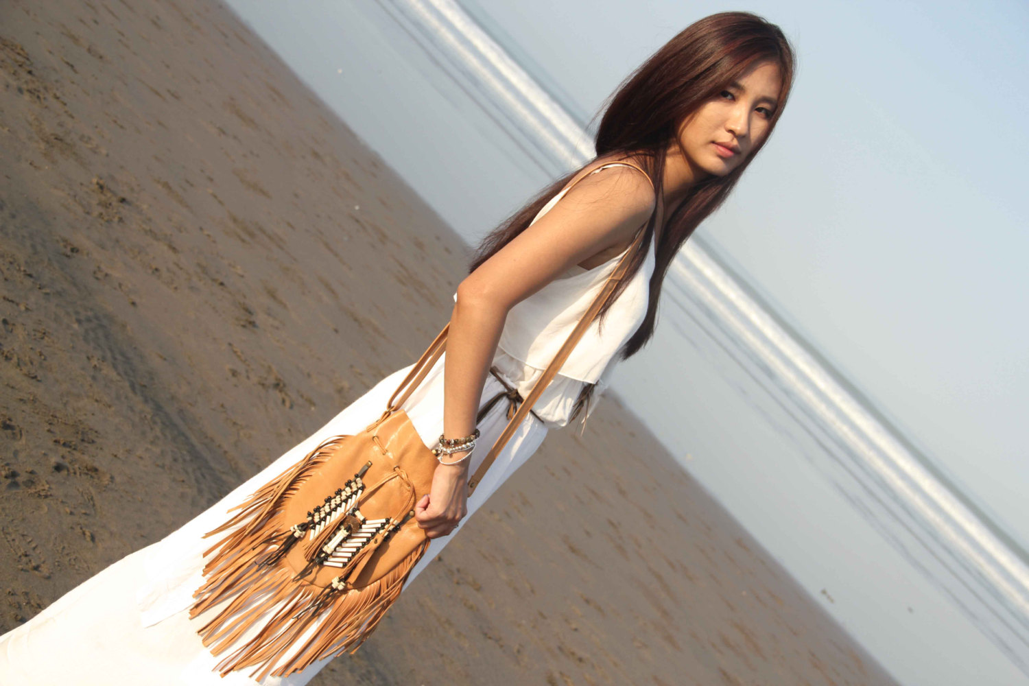 Tan leather bag, indian leather bag, tan bag, leather bag, boho bag, bohemian bag, gypsy bag, festival bag, navajo bag, fringed bag, fringe