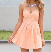 dress,pink dress,pink,strapless,hippie,orange cute dress,coral,necklace,summer,strapless dress,summer dress,pretty in pink,jewels,peach dress,sleeveless dress,coral dress,party,party dress,short dress,colorful,birthday dress