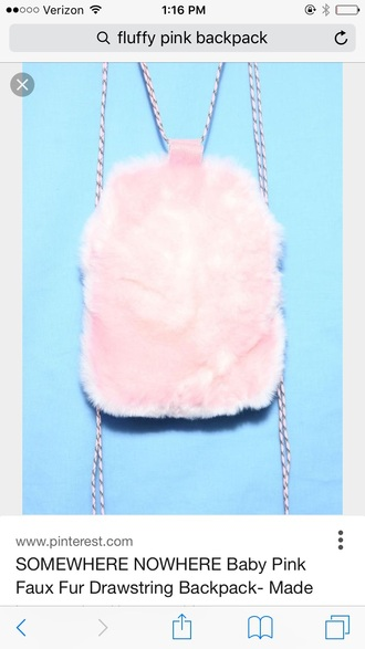 bag fluffy backpack fuzzy backpack pink backpack