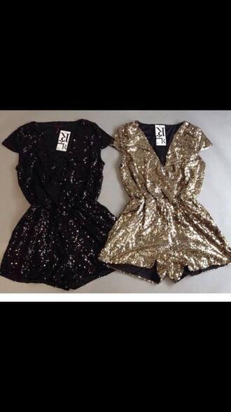 romper glitter black gold sequins gold sequins