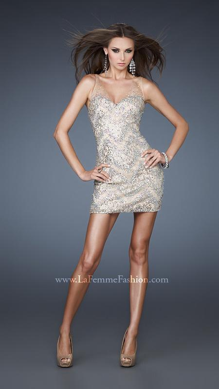 Sheer Straps Beaded Short Cocktail Dress Nude [Sheer Straps Beaded Dress LF18308] - $152.00 : Discover Unique Dresses Online at PromUnique.com