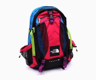 bag multicolor backpack northface colorful school back pack neon colors tye dye cute colors smiley face neon school bag back to school old school style stylish pretty love peace cool north face dope swag backpacks