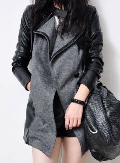 Grey Contrast PU Leather Long Sleeve Trench Coat - Sheinside.com