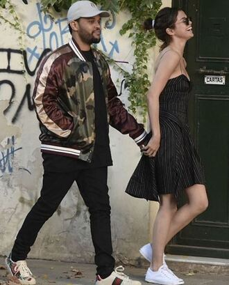 dress sneakers selena gomez streetstyle spring outfits the weeknd asymmetrical dress