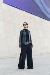 pants,black jacket,tumblr,wide-leg pants,black pants,jacket,leather jacket,black leather jacket,sunglasses,bag,belt bag