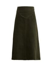 skirt,midi skirt,dark,midi,cotton,green