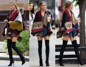 cape,multicolor,olivia palermo,poncho,burberry,thigh high boots