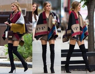 cape multicoloured olivia palermo poncho burberry thigh high boots