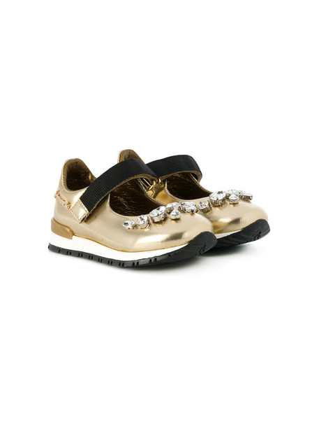 Simonetta embellished shoes leather grey metallic