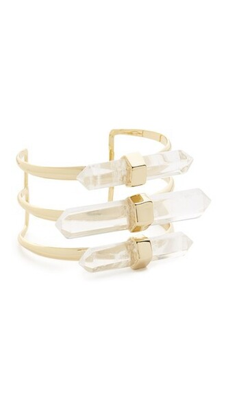 cuff rock clear cuff bracelet gold jewels