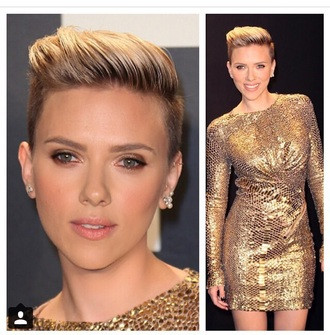 dress gold sequins sequin dress scarlett johansson oscars 2015 long sleeves long sleeve dress beautiful
