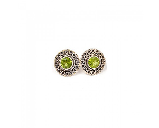 Genuine 925 sterling silver Gemstone Peridot Stud