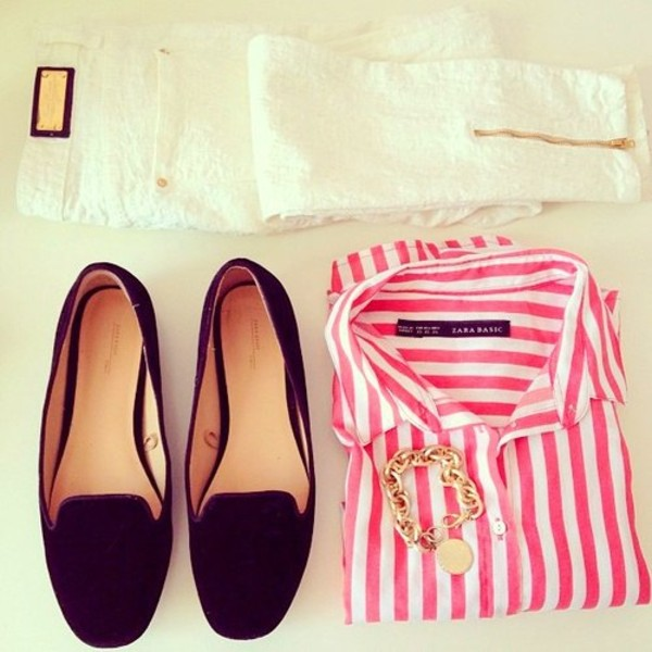 pants clothes shoes shirt jeans white blouse white and red red blouse elegant
