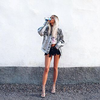 shoes transparent boots boots peep toe boots open toes transparent transparent shoes clear boots clear short shorts shorts black shorts top crop tops white crop tops jacket denim jacket blue jacket silver hair