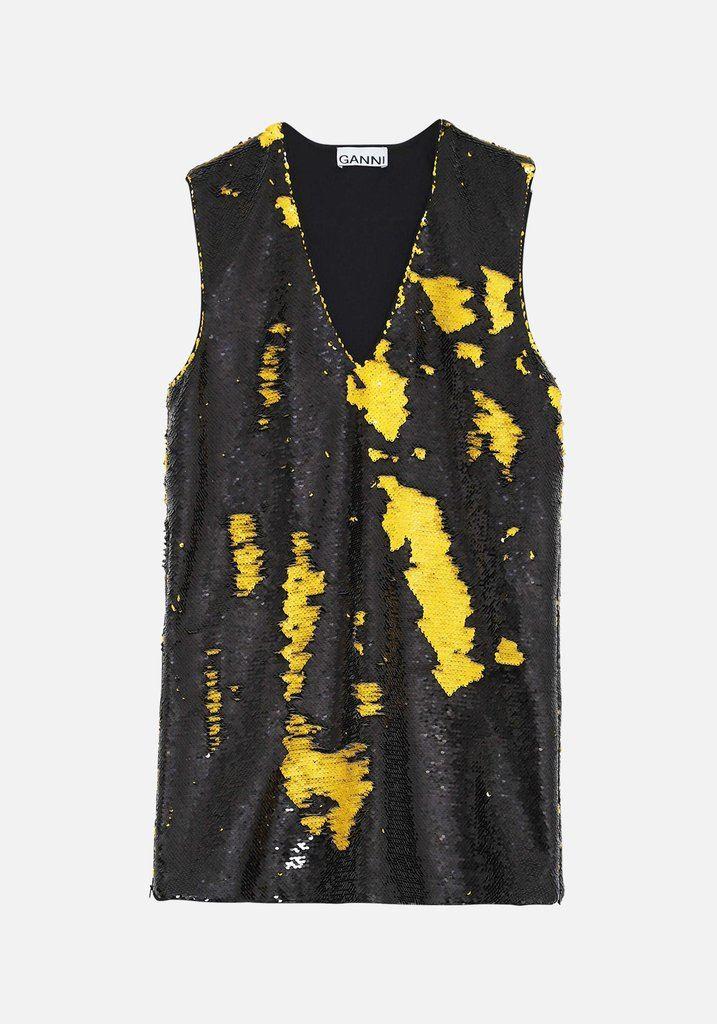 Sequin Shift Tunic Dress Black/Lemon