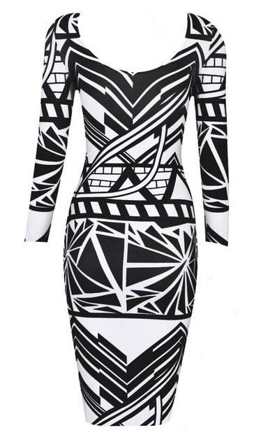 """""""sexy illusion"""" black & white aztec bodycon dress – glamzelle"""