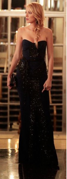 dress navy gown prom dress prom gown strapless blake lively
