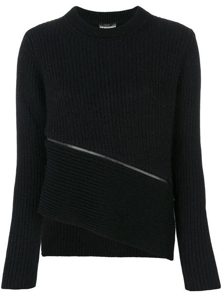 Emporio Armani jumper zip women black wool sweater
