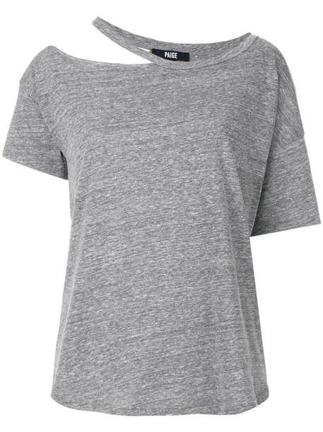 Paige - cut neckline T-shirt - women - Polyester/Cotton/Lyocell - S, Grey, Polyester/Cotton/Lyocell