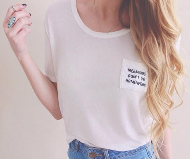 3236fe80c9d6 t-shirt, white, top, mermaid, don't do homework, shorts, denim, t ...