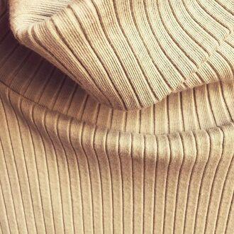 top crop tops camel ivory long sleeves turtleneck ribbed raw hem raw hemline saul roll-neck sweater ribbed knitwear ribbed knit basic ribbed knit top