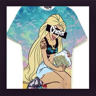shirt t-shirt princess bowls pot weed shirt alice in wonderland chiefer smoke weed high life smoke bong