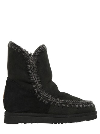 wedge boots short boots black shoes