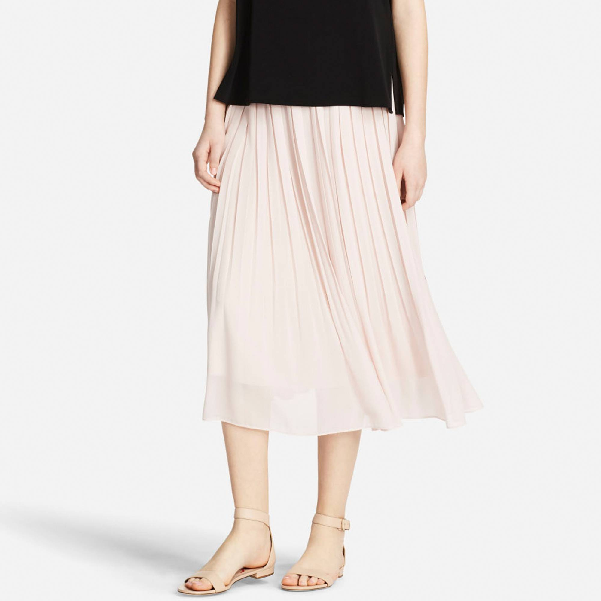 be3100c864 WOMEN HIGH WAIST CHIFFON PLEATED SKIRT
