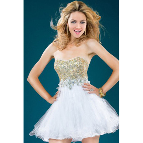 gold sequins white sweetheart a line short mini cocktail dress cocktail dress