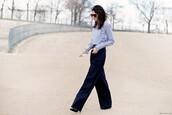garance dore,blogger,le fashion image,sunglasses,blouse,blue pants,long sleeves,blue top,wide-leg pants,black heels