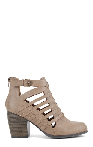 Chunky Heel Bootie with Side Cutouts Mobile