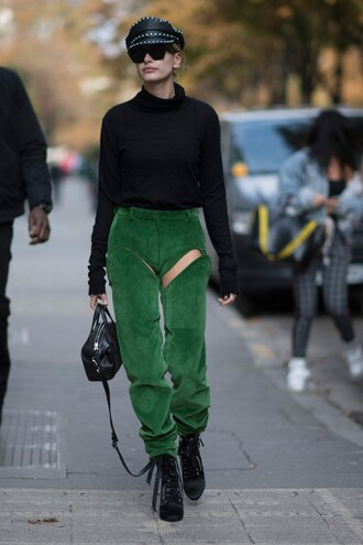 pants top sweater hailey baldwin ankle boots fall outfits streetstyle paris fashion week 2017