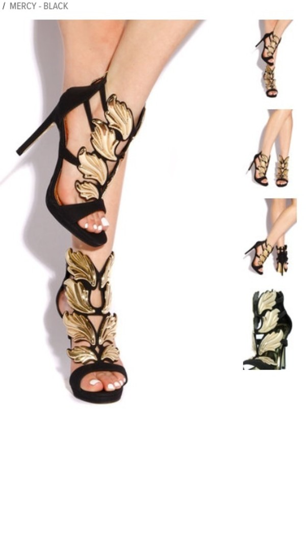 shoes strappy black heels guiseppe zanotti