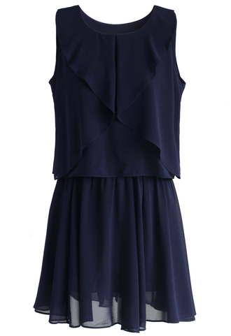 dress chicwish tired of grace frilling dress in navy frilling dress navy dress summer dress chicwish.com
