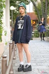 cardigan,navy,shoes,platform shoes,beanie,jumpsuit,skirt,plaid,green,school girl skirt,mini skirt