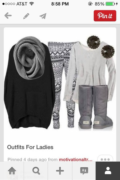 gray shirt sweater black sweater gray scarf aztec leggings