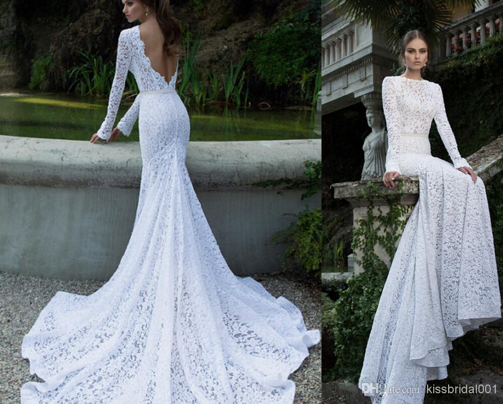 Discount Berta Lace 2014 Backless Wedding Dresses With Long Sleeves Crew Neck Court Train Bridal Gowns Mermaid Wedding Gowns Galia Lahav Cheap Online with $139.27/Piece | DHgate