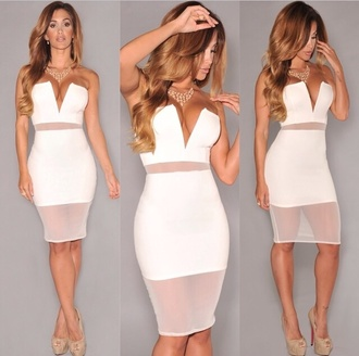 white mesh white dress clubwear see through dress