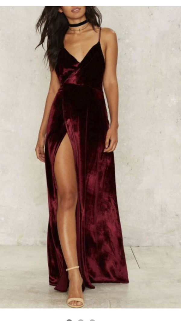 Dress Red Velvet V Neck Velvet Dress Prom Dress Long Prom