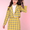 Glitters for dinner — ' 5-6 weeks waiitng' cher yellow tartan blazer & skirt se