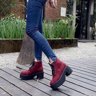 shoes suede boots it girl shop red creepers grunge shoes denim platform shoes grunge vintage