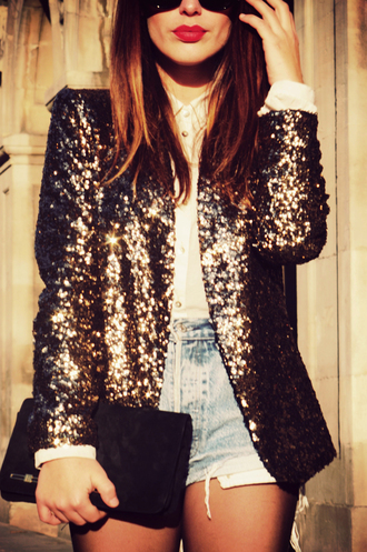 jacket coat blazer glitter grey black white blouse shorts gold sequins