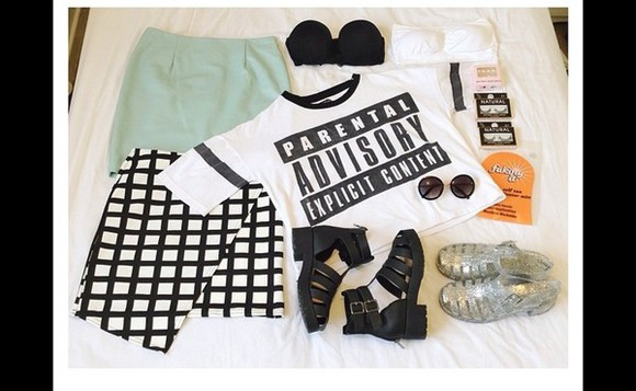 mint skirt t-shirt parental advisory explicit content mesh top bodycon skirt bralette boots heel boots
