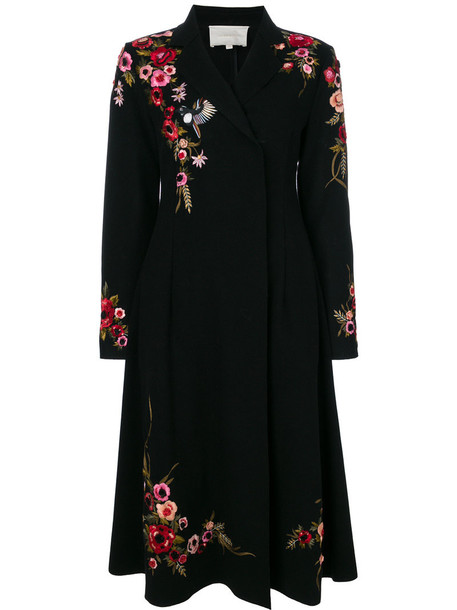 Amen coat double breasted embroidered women spandex floral black wool