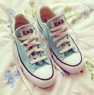 shoes allstars converse low top sneakers light blue baby blue pastel summer blue shoes pastel blue