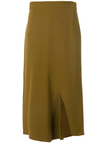 Tibi - split hem skirt - women - Polyester/Triacetate - 4, Green, Polyester/Triacetate
