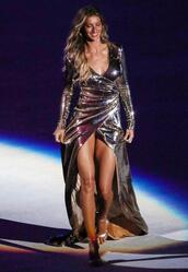 dress,gown,prom dress,wrap dress,silver,gisele bündchen,sandals,model,sequin dress,metallic,long prom dress