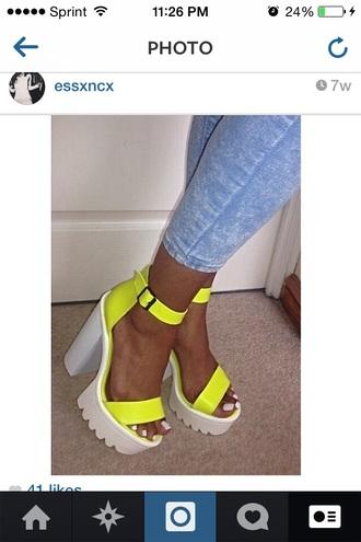yellow yellow shoes heels thick heel high heels